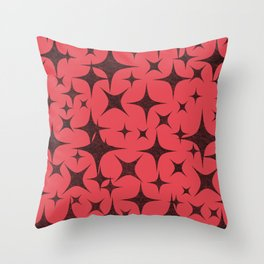 Shimmering Black Stars in Red Background Throw Pillow