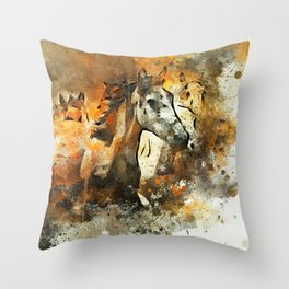Watercolor Galloping Horses On Raw Canvas | Splatter Painting Throw Pillow