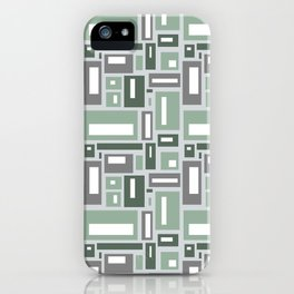 Geometric Rectangles in Sage Green and Gray iPhone Case