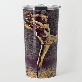 1315s-ZAC Dancer Leaping Air Time Beautiful Black Woman Antonio Bravo Style Travel Mug