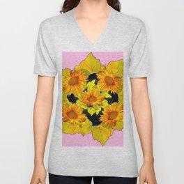 Golden Sunflowers & Leaves Pink-Black Patterns Unisex V-Neck