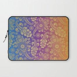 Golden Luxury Paisley on Blue, Purple and Orange Background Laptop Sleeve