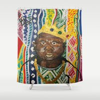 biggie Shower Curtains featuring coogi biggie  by waddartbydrew