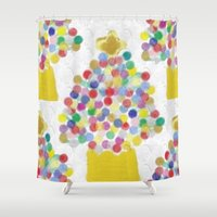 christmas tree Shower Curtains featuring Christmas Tree by lillianhibiscus