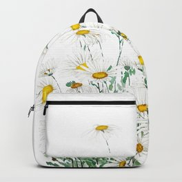 white margaret daisy horizontal watercolor painting Backpack