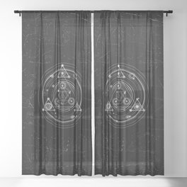Sacred geometry black and white geometric art Sheer Curtain