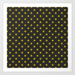 Black and Gold Polka Dots Art Print