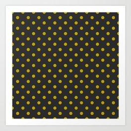 Black and Gold Polka Dots Art Print
