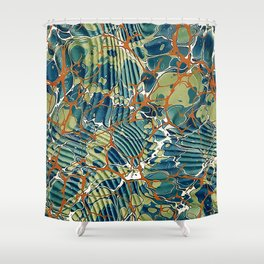 Old Marbled Paper 05 Shower Curtain