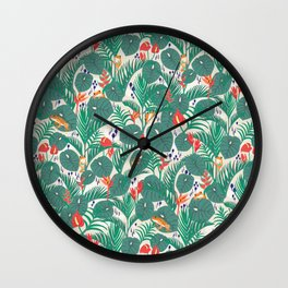 Tropical Frogs in the Jungle - Cream Wall Clock