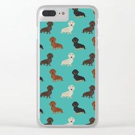 Doxie dachshund dachsie pattern print dog lover dog breed custom dog art by pet friendly Clear iPhone Case