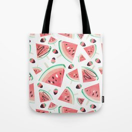 Watermelon popsicles, strawberries and chocolate Tote Bag