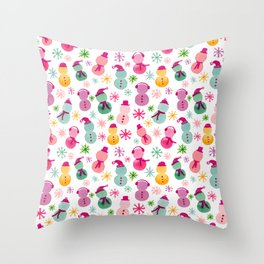 Brightly Colored Snowpeople Throw Pillow