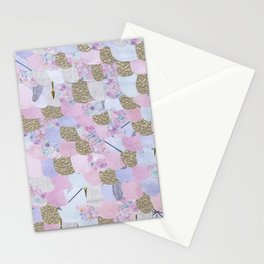 Mermaid Scales Paper Collage in Pastel Pink and Purple with Gold Detail Stationery Cards