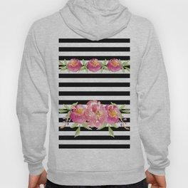 Stripe Black & White Horizontal and Watercolor Roses Hoody