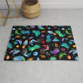Dinosaur Astronauts In Space Watercolor Pattern Rug