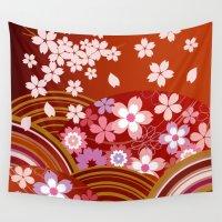 sakura Wall Tapestries featuring SAKURA by rie_lalala