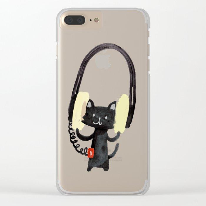 I Love Huge Headphone Clear iPhone Case
