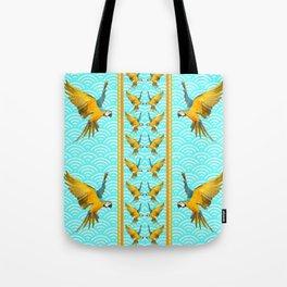 GOLD & BLUE TROPICAL MACAWS VERTICAL ART Tote Bag