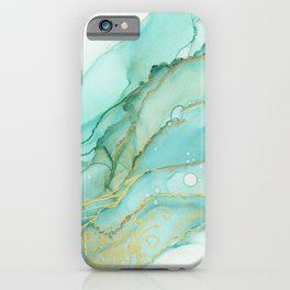 Magic Bloom Flowing Teal Blue Gold iPhone Case