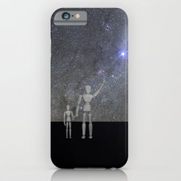 Wooden Anatomy Doll Father Shows Child the Milky Way Galaxy iPhone Case
