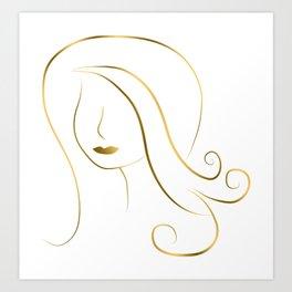 Gold Girl Art Deco Drawing Art Print