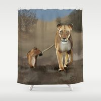 lions Shower Curtains featuring Lions by Elena Napoli