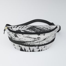 Black and White Mountains Fanny Pack