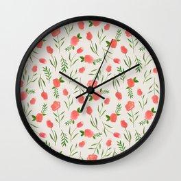 Spring Watercolor Flowers Wall Clock