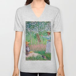 Claude Monet - In the Woods at Giverny, Blanche Hoschedé at Her Easel with Suzanne Hoschedé Reading Unisex V-Neck
