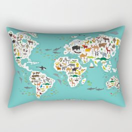 Cartoon animal world map for children and kids, Animals from all over the world Rectangular Pillow