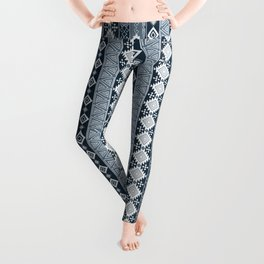 Colorful Aztec pattern with dirty blue. Leggings