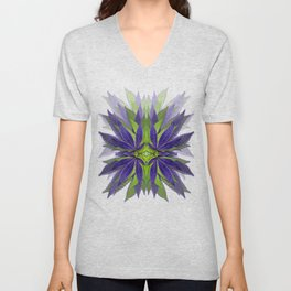 Marijuana Leaves Ultra Violet Pattern Unisex V-Neck