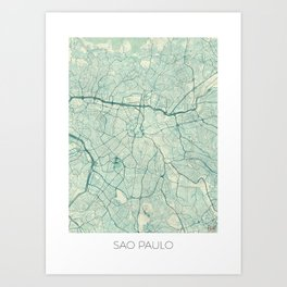 Sao Paulo Map Blue Vintage Art Print
