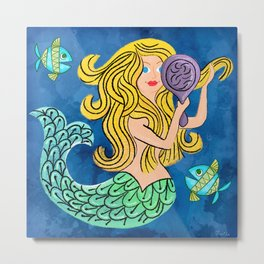 Storybook Golden Mermaid Metal Print