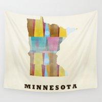 minnesota Wall Tapestries featuring Minnesota state map modern by bri.buckley