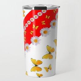 RED MODERN ART YELLOW BUTTERFLIES & WHITE DAISIES Travel Mug