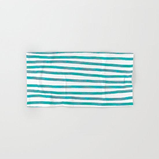 Ocean Green Hand-painted Stripes Hand & Bath Towel