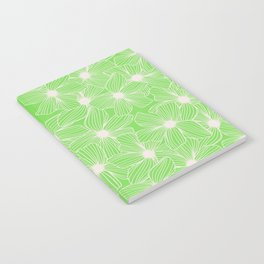 02 White Flowers on Green Notebook