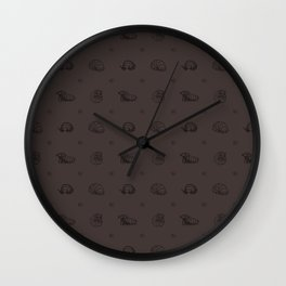 Roly Poly Party! Black Lineart on Brown Wall Clock
