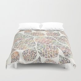 Soft Color Abstract Leaf Scatter Duvet Cover