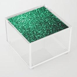 Beautiful Emerald Green glitter sparkles Acrylic Box