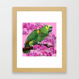PINK TROPICAL GREEN PARROT & FUCHSIA ORCHIDS  ART Framed Art Print