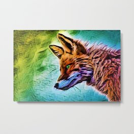 Night of the Fox Portrait Painting by Jeanpaul Ferro Metal Print