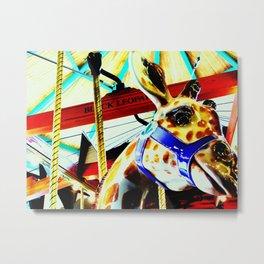 Carousel Giraffe Metal Print