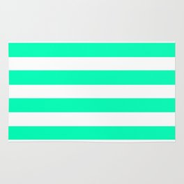 Mint and White Stripes Rug