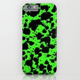 Bright Green and Black Leopard Style Paint Splash Funny Pattern iPhone Case