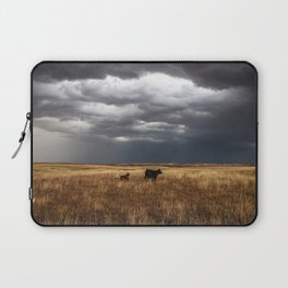Life on the Plains - Cow Watches Over Playful Calf in Oklahoma Laptop Sleeve