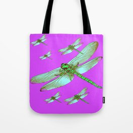 PANTENE ULTRA VIOLET PURPLE EMERALD DRAGONFLIES ART Tote Bag