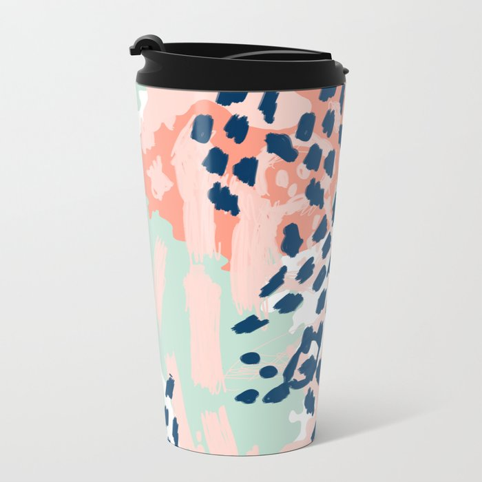 Kala - abstract painting minimal coral mint navy color palette boho hipster decor nursery Metal Travel Mug